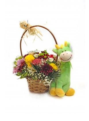 Cesta de Flores Mistas com Ursinho