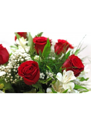 Bouquet 06 Rosas Colombianas e Alstromelias